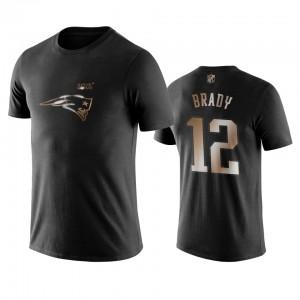 New England Patriots #12 Tom Brady Men's Black Black Golden 100th Season T-Shirt 661489-519
