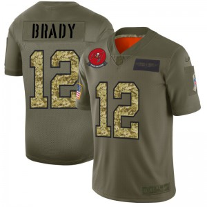 Tampa Bay Buccaneers #12 Tom Brady Men's 2019 Olive Camo Salute to Service Limited Jersey 932766-673