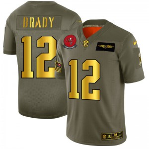 Tampa Bay Buccaneers #12 Tom Brady Men's Olive Gold 2019 Salute to Service Limited Jersey 595121-857