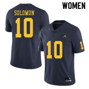 Michigan Wolverines #10 Anthony Solomon Women's Navy College Football Jersey 359363-159