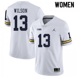Michigan Wolverines #13 Tru Wilson Women's White College Football Jersey 545638-779