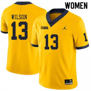 Michigan Wolverines #13 Tru Wilson Women's Yellow College Football Jersey 917409-169