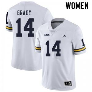Michigan Wolverines #14 Kyle Grady Women's White College Football Jersey 662448-695