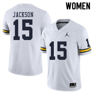 Michigan Wolverines #15 Giles Jackson Women's White College Football Jersey 675282-158