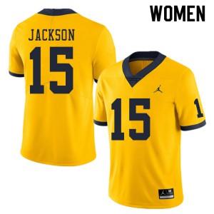 Michigan Wolverines #15 Giles Jackson Women's Yellow College Football Jersey 624180-727
