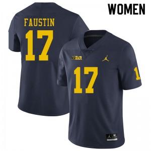 Michigan Wolverines #17 Sammy Faustin Women's Navy College Football Jersey 583831-563