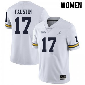 Michigan Wolverines #17 Sammy Faustin Women's White College Football Jersey 992258-426