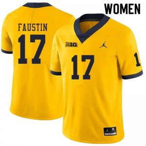 Michigan Wolverines #17 Sammy Faustin Women's Yellow College Football Jersey 946997-755