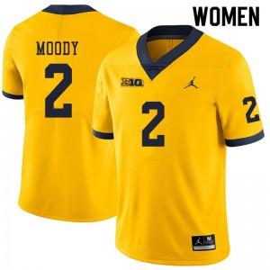 Michigan Wolverines #2 Jake Moody Women's Yellow College Football Jersey 909106-290