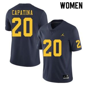 Michigan Wolverines #20 Nicholas Capatina Women's Navy College Football Jersey 231575-898