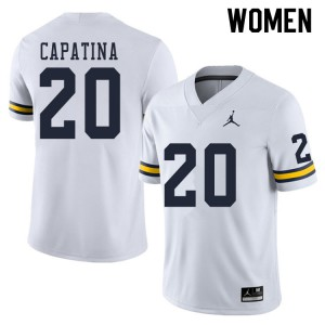 Michigan Wolverines #20 Nicholas Capatina Women's White College Football Jersey 553461-296