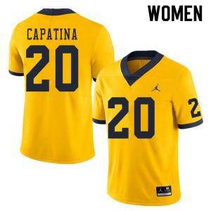 Michigan Wolverines #20 Nicholas Capatina Women's Yellow College Football Jersey 202233-943