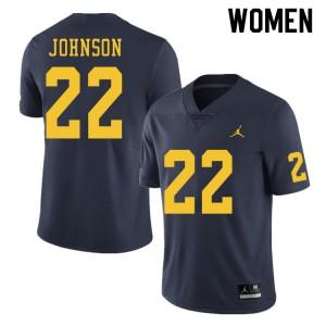 Michigan Wolverines #22 George Johnson Women's Navy College Football Jersey 331874-565