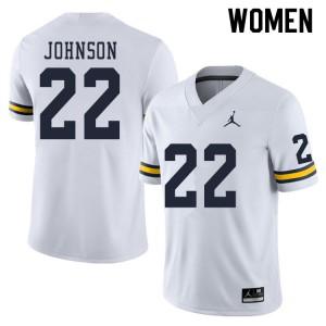 Michigan Wolverines #22 George Johnson Women's White College Football Jersey 378491-445
