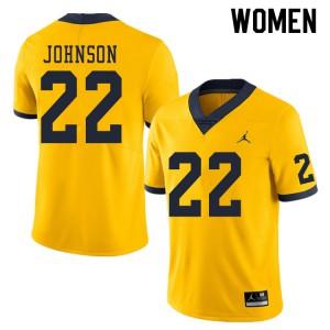 Michigan Wolverines #22 George Johnson Women's Yellow College Football Jersey 575661-922