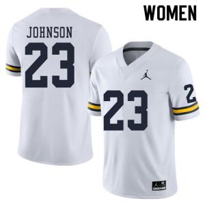 Michigan Wolverines #23 Quinten Johnson Women's White College Football Jersey 242889-761