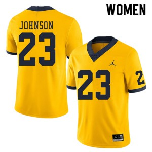 Michigan Wolverines #23 Quinten Johnson Women's Yellow College Football Jersey 431495-247