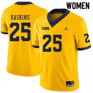 Michigan Wolverines #25 Hassan Haskins Women's Yellow College Football Jersey 252040-395