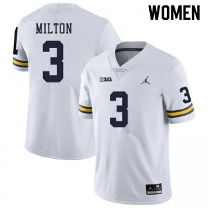 Michigan Wolverines #3 Joe Milton Women's White College Football Jersey 969460-631