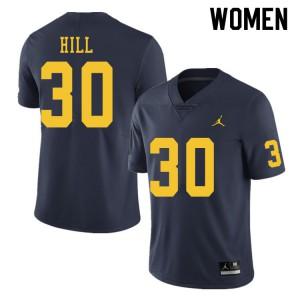 Michigan Wolverines #30 Daxton Hill Women's Navy College Football Jersey 816651-451
