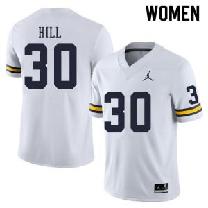 Michigan Wolverines #30 Daxton Hill Women's White College Football Jersey 346903-858