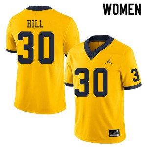 Michigan Wolverines #30 Daxton Hill Women's Yellow College Football Jersey 316168-143