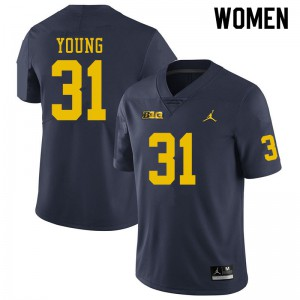 Michigan Wolverines #31 Jack Young Women's Navy College Football Jersey 237243-871