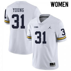 Michigan Wolverines #31 Jack Young Women's White College Football Jersey 419349-970