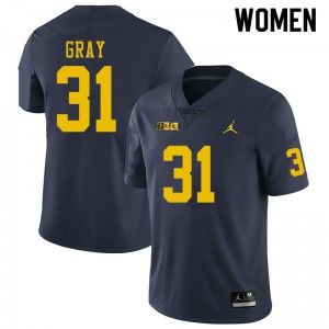 Michigan Wolverines #31 Vincent Gray Women's Navy College Football Jersey 692905-932