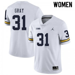 Michigan Wolverines #31 Vincent Gray Women's White College Football Jersey 242586-372