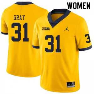 Michigan Wolverines #31 Vincent Gray Women's Yellow College Football Jersey 135033-798