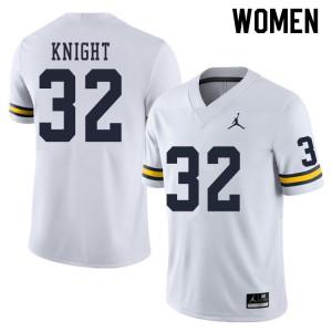 Michigan Wolverines #32 Nolan Knight Women's White College Football Jersey 565844-328