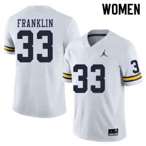 Michigan Wolverines #33 Leon Franklin Women's White College Football Jersey 898074-275