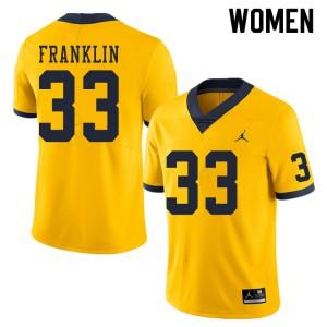 Michigan Wolverines #33 Leon Franklin Women's Yellow College Football Jersey 322325-115