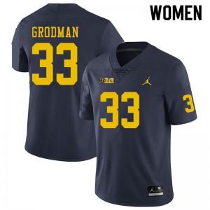 Michigan Wolverines #33 Louis Grodman Women's Navy College Football Jersey 902682-463