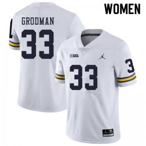 Michigan Wolverines #33 Louis Grodman Women's White College Football Jersey 765025-164
