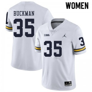 Michigan Wolverines #35 Luke Buckman Women's White College Football Jersey 394949-176