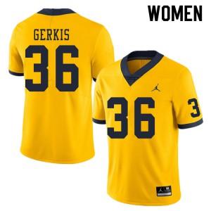 Michigan Wolverines #36 Izaak Gerkis Women's Yellow College Football Jersey 641012-447
