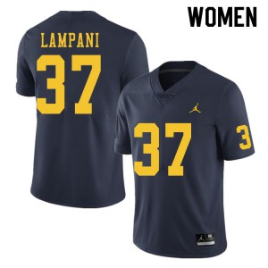 Michigan Wolverines #37 Jonathan Lampani Women's Navy College Football Jersey 634461-159
