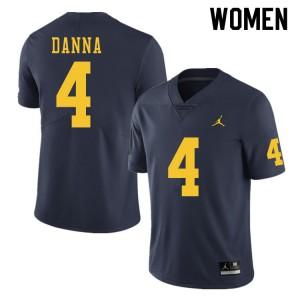 Michigan Wolverines #4 Michael Danna Women's Navy College Football Jersey 844756-685