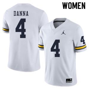 Michigan Wolverines #4 Michael Danna Women's White College Football Jersey 457588-202
