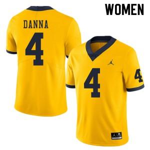 Michigan Wolverines #4 Michael Danna Women's Yellow College Football Jersey 568890-414