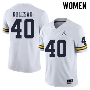Michigan Wolverines #40 Caden Kolesar Women's White College Football Jersey 411190-832