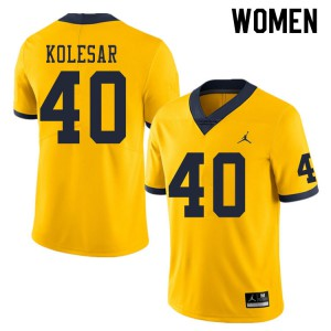 Michigan Wolverines #40 Caden Kolesar Women's Yellow College Football Jersey 817321-594