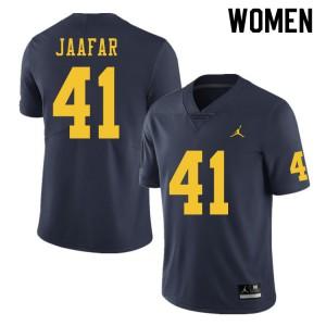Michigan Wolverines #41 Abe Jaafar Women's Navy College Football Jersey 580318-397