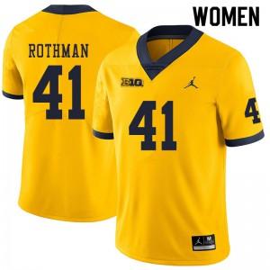 Michigan Wolverines #41 Quinn Rothman Women's Yellow College Football Jersey 299784-430