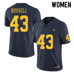 Michigan Wolverines #43 Andrew Russell Women's Navy College Football Jersey 575135-347