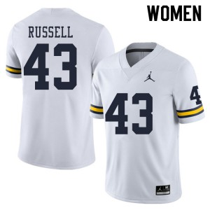 Michigan Wolverines #43 Andrew Russell Women's White College Football Jersey 528176-230