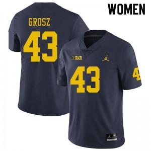 Michigan Wolverines #43 Tyler Grosz Women's Navy College Football Jersey 922554-418