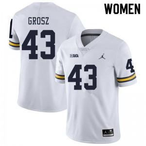 Michigan Wolverines #43 Tyler Grosz Women's White College Football Jersey 429621-862